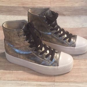 Gold high top platform sneakers by Puzzle size 7